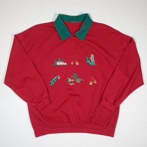 Vintage 90's Winter Theme Embroidered Sweatshirt M